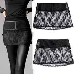 Buy Best Personalized Black Lace Short Mini Burlesque Goth Skirt Women SKU-11406265