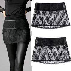 Buy Best Personalized Black Lace Short Mini Burlesque Goth Skirt Women SKU-11406265