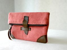 RESERVED for Hillary Young - Linen and leather foldover small clutch purse, cosmetic bag, make up bag, pencil pouch. $25.00, via Etsy.