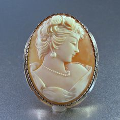 Cameo Brooch Pendant 800 Silver Carved Shell by LynnHislopJewels