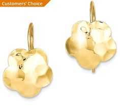 ICE CARATS 14k Yellow Gold Concave Hammered Flower Disc Drop Dangle Chandelier Earrings Gardening Fine Jewelry Gift For Women Heart -- Want to know more, click on the image. (This is an affiliate link) #WomensJewelry