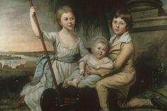A highlight of the permanent collection of early American paintings on display at Dumbarton House is a portrait of the children of Benjamin Stoddert, first Secretary of the U.S. Navy. The portrait was painted by Charles Willson Peale in 1791. The background scene depicts Georgetown as an early tobacco port, only 40 years after it was incorporated as a city. American Revolution, Early American, 40 Years, Secretary, Siblings, Silhouettes, Highlight, Colonial, Appreciation