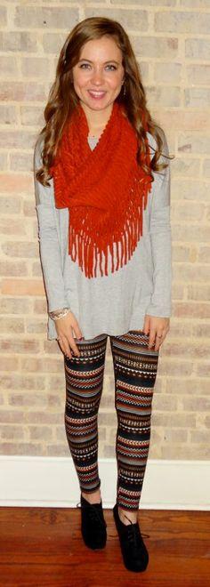Heather grey top, red fringe scarves scarves, print leggings winter fashion - Studio 3:19