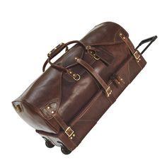Personalized Wheeled Duffle/Duffel Bag - Distressed Leather | J.W. Hulme Co.