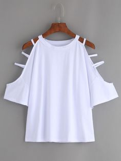 White Cutout Strappy Sleeve T-shirt