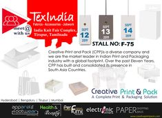 meet us at Stall No: at Complex, on September 2019 Clothing Packaging, Textile Industry, Indian Prints, Carton Box, Printing Labels, Hang Tags, Footprint, September, Fabrics