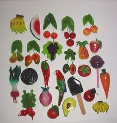 """25 Piece Set Hand Made Decorative Fruit and Vegetable Fridge Magnets 1.5""""-3.0""""h by HEMISPHERE TRADING IMPORTS, http://www.amazon.com/dp/B00107NADQ/ref=cm_sw_r_pi_dp_-d-Urb042M9XM"""