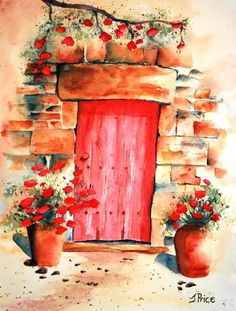 Red Tuscany Door watercolor painting by JoanPriceArt on Etsy, $45.00