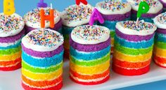 If we decide to do a cake and cupcakes/mini cakes, I'd love to do something like this instead of traditional cupcakes.  Syd would like to have the frosting be PINK with rainbow sprinkles.  FYI, I prefer primary colors (not the light green and light blue in this picture).