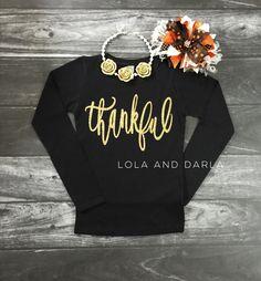 Thankful GIRLS Long Sleeve Thanksgiving Sparkle Shirt