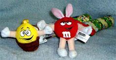 M & M Candy Red & Yellow Easter Plush Key/Backpack Clip toppers on tubes 2005 E1 #Eastertoppers