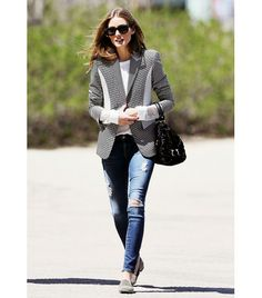 @Who What Wear - Olivia Palermo                 Tip: Take your blazer from work to weekend with distressed jeans and flats.     Palermo added polish to her go-to weekend jeans—AG Adriano Goldschmied's Ankle Legging Jeans ($224)—and casual loafers last week by simply adding a patchwork blazer.