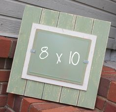 Distressed Wood Picture Frame - Holds an 8x10 Picture - Sage Green & Cream. $32.00, via Etsy.