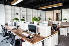 Ideas For Open Office Lighting Storage Corporate Office Design, Open Office Design, Office Interior Design, Office Interiors, Office Designs, Design Interiors, Corporate Interiors, Space Interiors, Corporate Offices