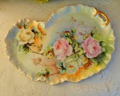 Beautiful Vintage Limoges Porcelain Hand Painted Artist Signed Tray ~ Roses Gold #Limoges
