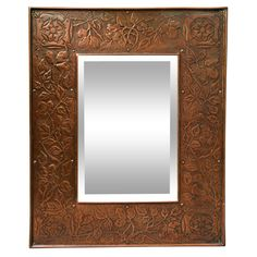 English Aesthetic Movement Hammered Copper Mirror