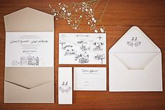 The invitation set for Julie & Jeff's wedding. Groomswear by Louis Copeland & Sons Reception: Borris House Photography by: Katie Kav Photography Illustrated Wedding Invitations, Unique Wedding Invitations, Wedding Stationery, Diy Spring Weddings, Unique Weddings, House Photography, Wedding Photography, Invitation Paper, Invite