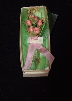 Vintage Doll Miniature Flowers in Box Gift For Dollhouse