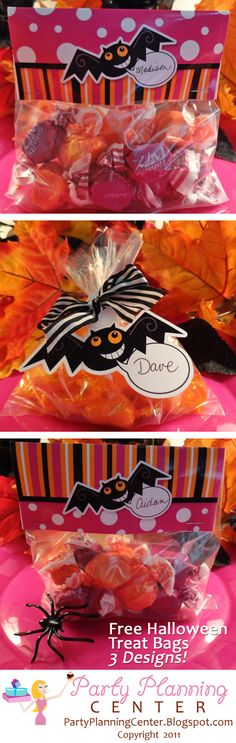 Party Planning Center: Free Printable Halloween Trick or Treat Goody Bags Adult Halloween Party, Halloween Trick Or Treat, Holidays Halloween, Halloween Treats, Happy Halloween, Halloween Decorations, Halloween Printable, Haunted Halloween, Holiday Treats