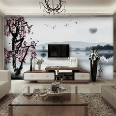 Wonderful Japanese Wallpaper Murals For Small Living Room