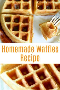 This Easy Homemade Waffles Recipe is light and crispy on the outside, soft and fluffy on the inside - they're perfect every time! Homemade Waffle Mix, Mini Waffle Recipe, Waffle Batter Recipe, Waffle Mix Recipes, Homemade Waffles, Belgium Waffle Recipes, Belgian Waffle Recipe For One, Pancake Recipes, Pancake