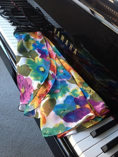 Bright rainbow floral chiffon ballet wrap skirt. Dance or skating skirt made to order from my shop flicflac dance skirts on Etsy.