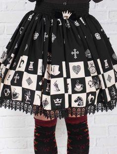 M4U Dandy Black Lace Polyester Lolita Skirts XS, cool balck