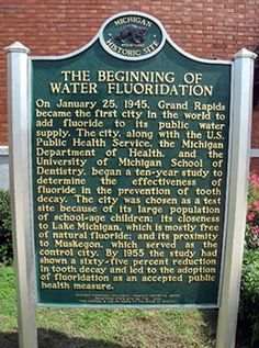 Today on January 25, 1945, Grand Rapids, Michigan, became the first community in the United States to fluoridate its drinking water to prevent tooth decay.   The Community Water Fluoridation information thread. Dentaltown Water Fluoridation  http://www.dentaltown.com/MessageBoard/thread.aspx?s=2&f=155&t=190631&pg=5&r=3686048  #CommunityWaterFluoridation #WaterFluoridation #DentalCaries #ToothDecay #DentalScience #dentistry #dental #dentist #dentalstudent