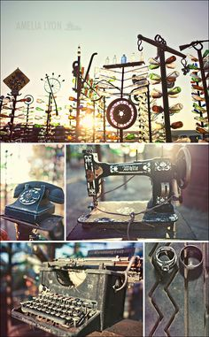 """Elmer Long's Bottle Tree Ranch, Route 66, CA, USA.  Discovered this on Amelia Lyon's photo blog. She did a FANTASTIC """"day after"""" wedding shoot there."""