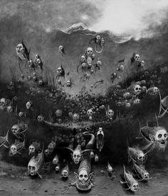 Zdzislaw Beksinski Gallery: Surreal paintings of Zdzisław Beksiński community life at the edge Arte Horror, Horror Art, Dark Fantasy Art, Dark Art, Arte Obscura, Dark Images, Macabre Art, Surrealism Painting, Creepy Art