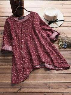 Vintage Irregular Hem Blouses with Pocket can cover your body well, make you more sexy, Newchic offer cheap plus size fashion tops for women Mobile.