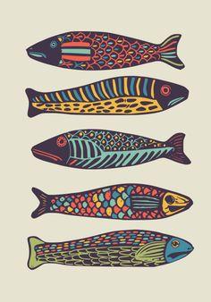 Colorful fish Framed Art Print by deanng Folk Art Fish, Fish Wall Art, Fish Art, Fish Graphic, Wood Fish, Fish Illustration, Fish Drawings, Fish Crafts, Fish Patterns