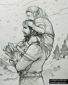 Thorin and little Fili by Evankart
