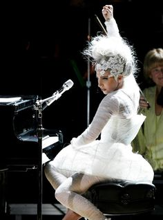 Lady Gaga :: Jennifer Behr :: Custom Lace Tiara :: hair :: accessory :: celebrity style :: white :: lace ::