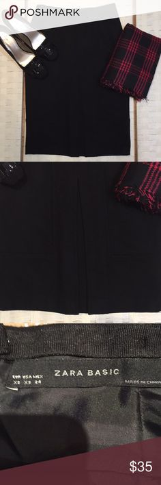 "New!  Amazing Zara Black Wool Blend Skirt New without tags!  Bought in Paris, and never worn.    Fully lined and has amazing details.  It's a thick wool blend and a must have.  I wouldn't be selling it if it fit me.    Waist 13.5"" Length 23.5"" Zara Skirts Pencil"