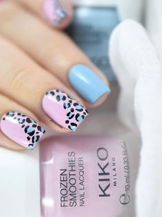 Pink and blue leopard print nail art - Leopard print tutorial
