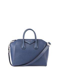Antigona Medium Leather Satchel Bag, Dark Blue  by Givenchy at Neiman Marcus.