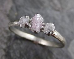 Dainty Raw Rough Pink Diamond Engagement Stacking ring Wedding anniversary White Gold 14k Rustic