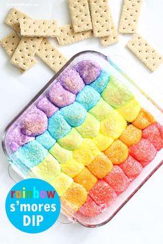 Rainbow s'mores dip is an easy, delicious unicorn food idea for your rainbow party. Rainbow Sweets, Rainbow Desserts, Rainbow Food, Cute Desserts, Party Desserts, Best Dessert Recipes, Rainbow Snacks, Rainbow Stuff, Rainbow Theme