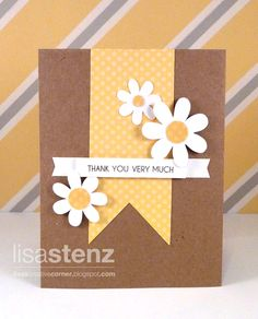 Lisa's Creative Corner: Dotty for You/Art Philosophy Thank You Card + Card Word Puzzle - I've got all of the above and love daisies and yellow and kraft cardstock!!!!