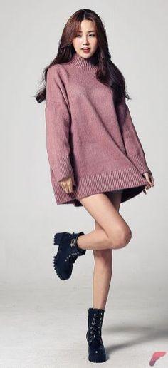 Dress| Sweater| Purple| High neck| Turtleneck| Plum| Mauve| Long sleeve| Short| Leg| Shoes| Heels| Chunky| Close toed| Leather| Black| Fall| Autumn| P683