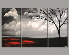"Large Abstract Landscape Original Acrylic Painting Black, Red, Gray Painting by Osnat - MADE-TO-ORDER - 60""x36"""
