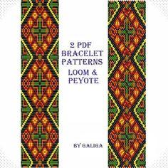 Bracelet patterns Square stich beading Peyote bracelet by Galiga