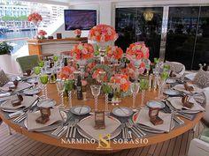 Décoration florale d'un yacht à Monaco // Floral decoration of a yacht in Monaco Monte-Carlo // By Narmino Sorasio florist // Par Narmino Sorasio fleuriste depuis 1905.