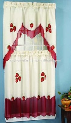 strawberry   kitchen | Applique Strawberry Kitchen Curtain Set,Qingdao CHY Home Fashions Co ...