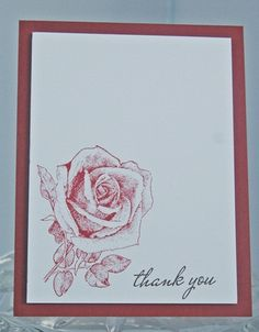Rose in Red Thank You Hand Made Card by LaurasPaperCreations, $3.50  And I'm partial to roses.
