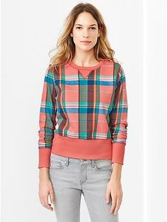 Plaid shrunken sweatshirt | Gap
