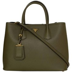 """Pre-owned PRADA Militare Green Saffiano Leather """"Double-Tote"""" Bag GHW ($2,600) ❤ liked on Polyvore featuring bags, handbags, tote bags, handbags and purses, shoulder bags, structured shoulder bags, prada bags, brown purse, green bags and green handbags"""