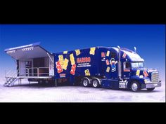Haribo show truck with power from Fischer Panda generator mounted externally below chassis