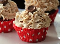 Chocolate Rolo Cupcakes with Salted Caramel Buttercream -yum!
